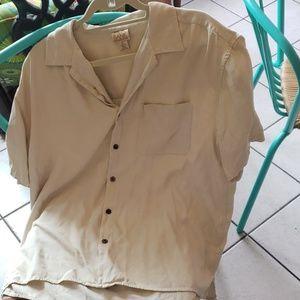 Mens Yellow 100% Silk Jos A Bank Short Sleeve